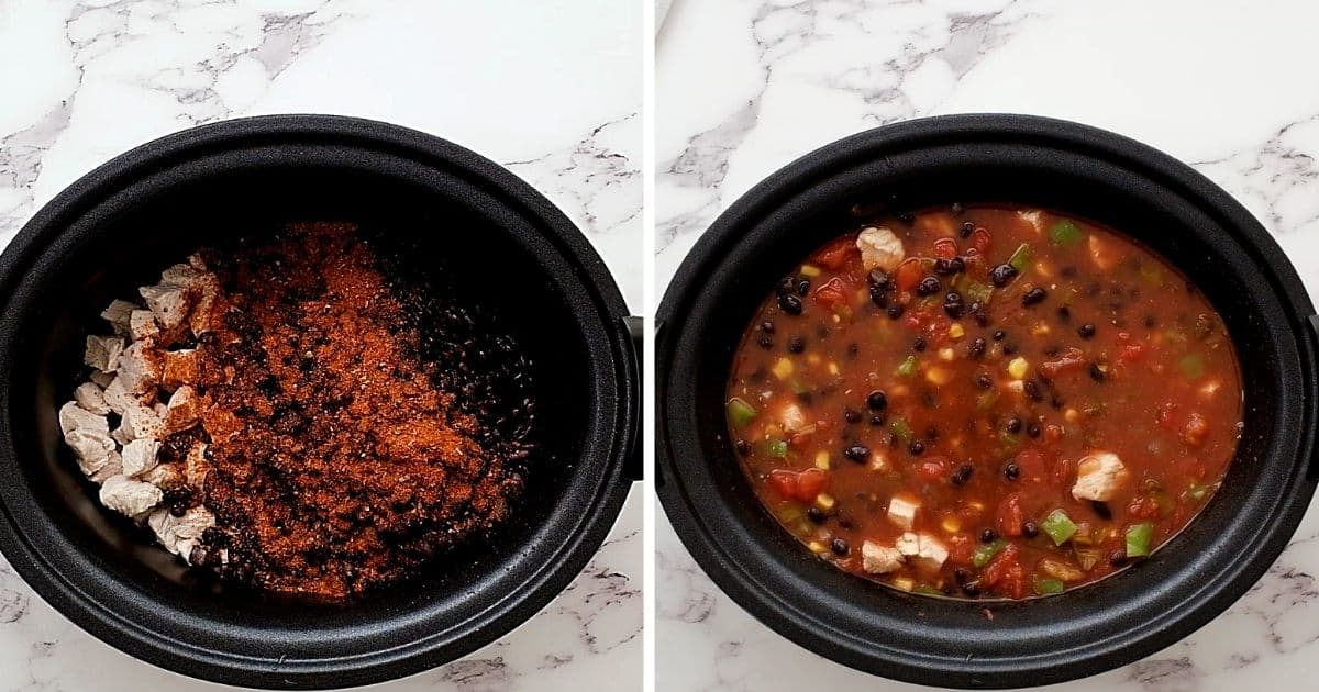 Side by side picture of slow cooker with ingredients for turkey soup.
