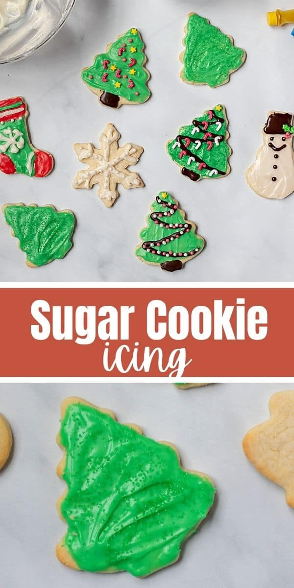 This is the best recipe for Sugar Cookie Frosting! It is easy to make, hardens perfectly, and most importantly, it tastes delicious! This sugar cookie icing is made with cream cheese to keep this frosting just sweet enough without being overly sweet! Cream cheese cookie frosting is the way to go for the best flavor!