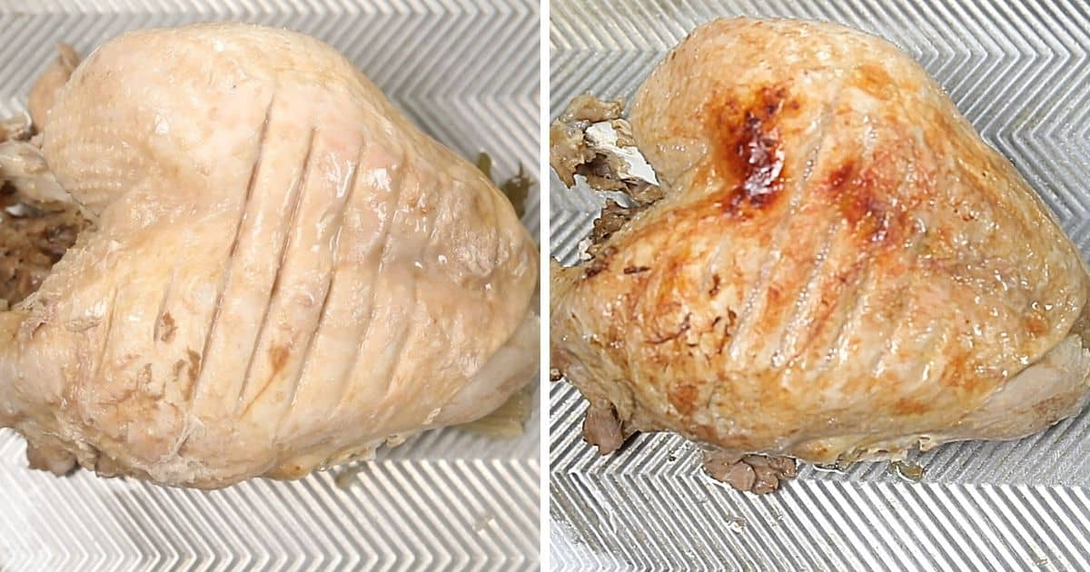 Instant Pot Turkey breast on cookie sheet before and after browning.