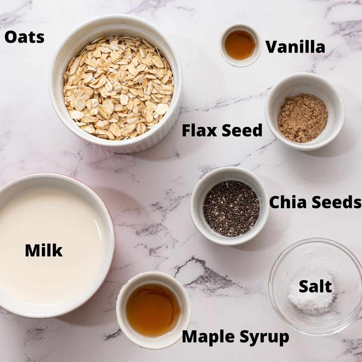 Ingredients for overnight oats labeled on counter