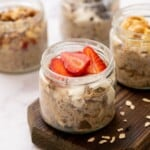 Jar of overnight oats with strawberries.