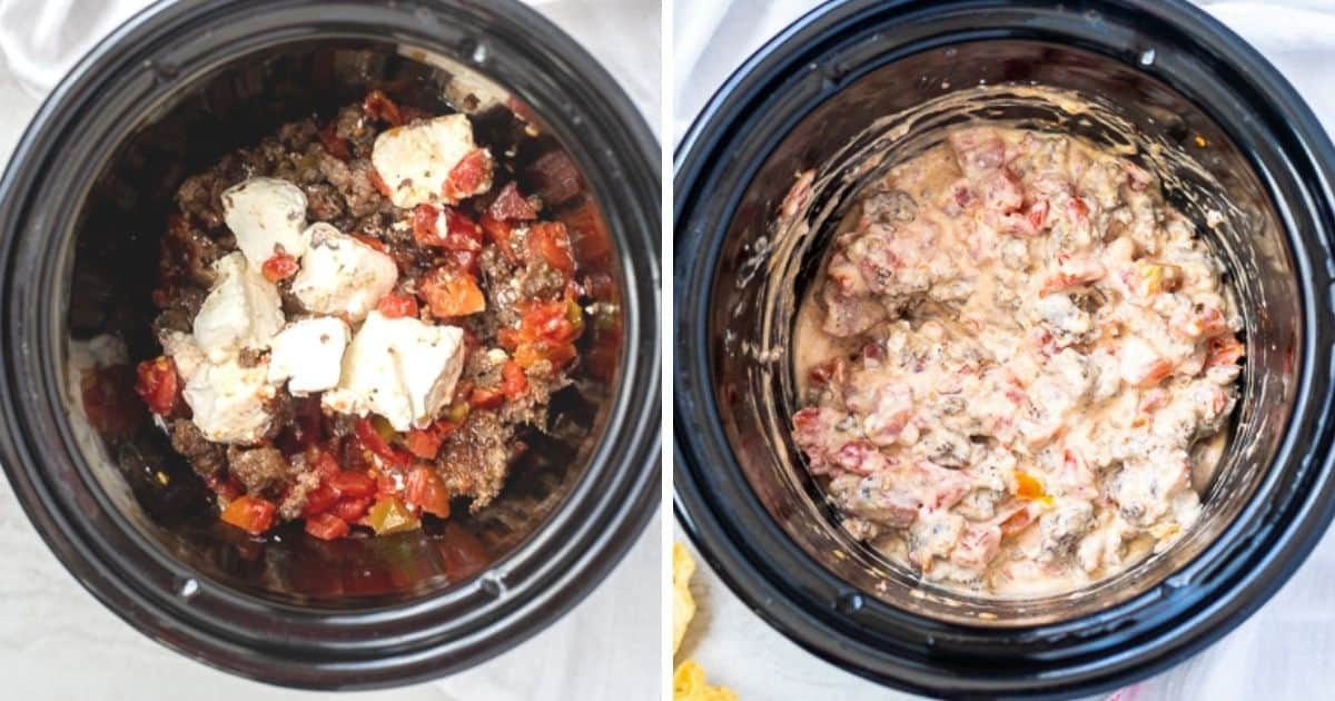 Side by side pictures of ingredients for sausage dip in crockpot.