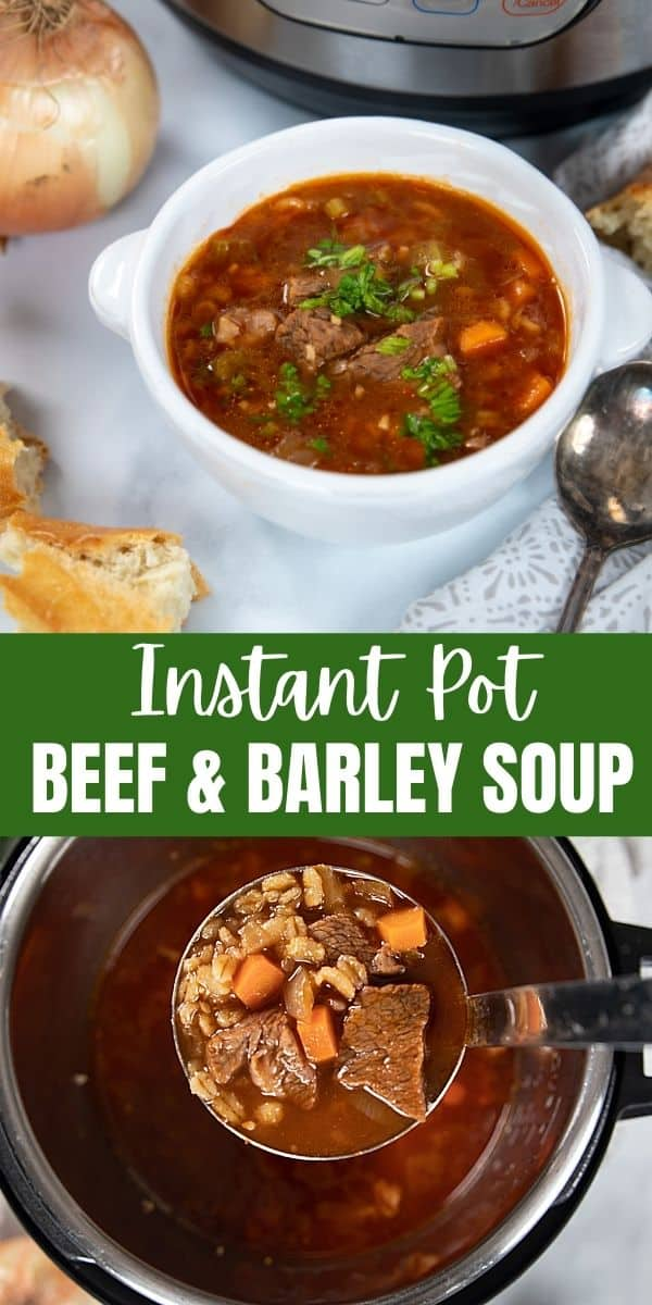 Instant Pot Beef and Barley Soup is an easy, healthy, and hearty soup made in less than an hour, instead of the hours it takes to prepare this classic soup on the stove or slow cooker.