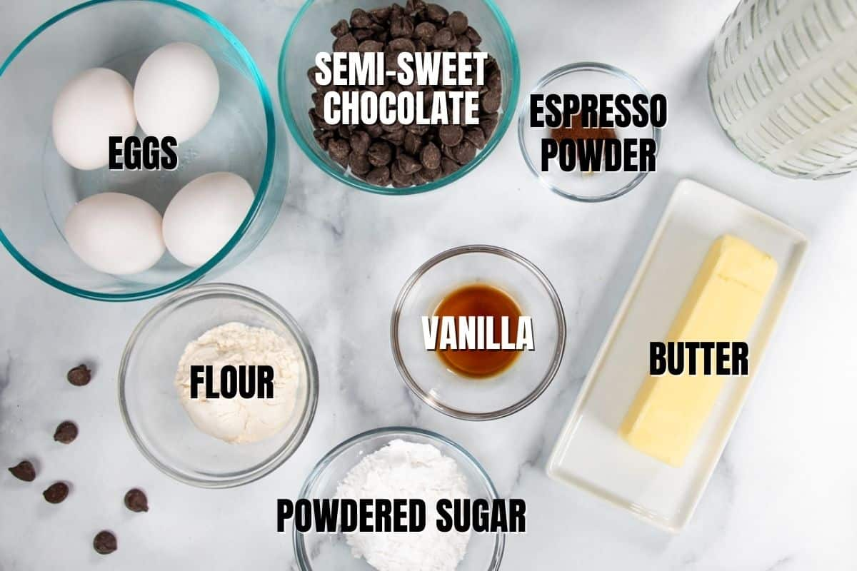 Ingredients for lava cake labeled in text.