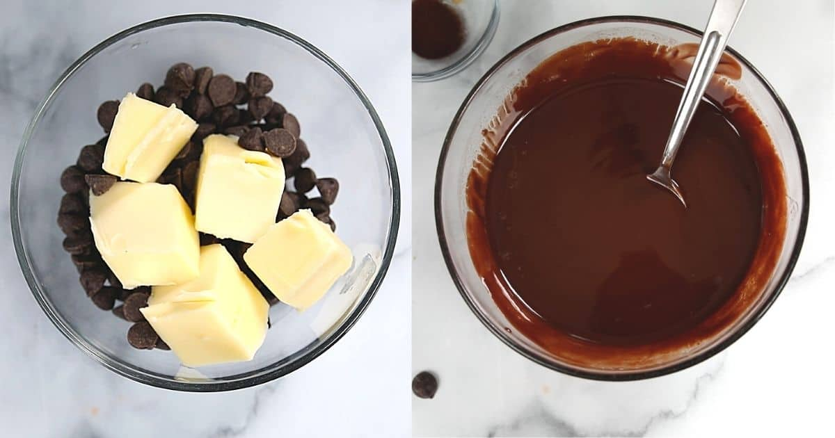 Side by side picture of butter with chocolate before and after melting.