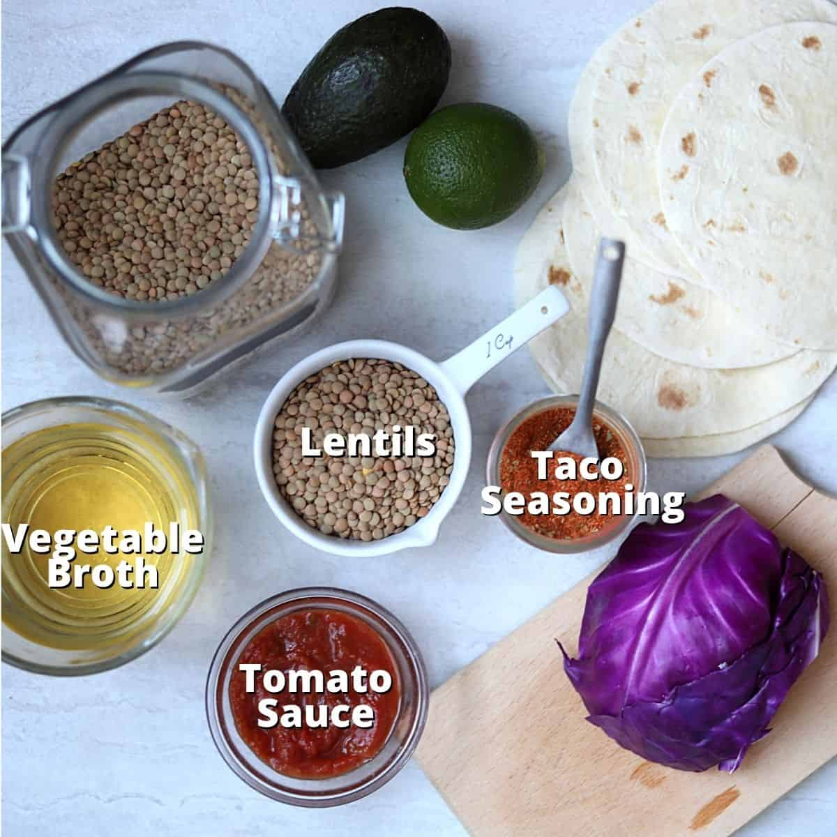Ingredients for lentil taco meat labled on counter.