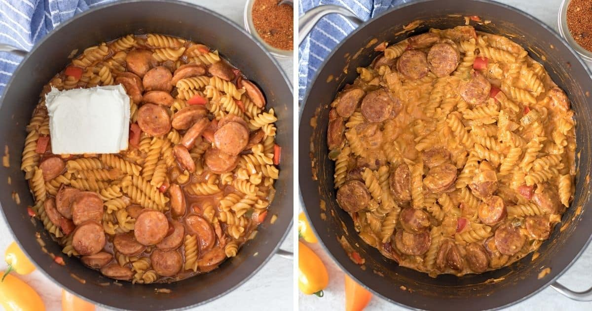 Side by side picture of Cajun Pasta before and after stirring in cream cheese.