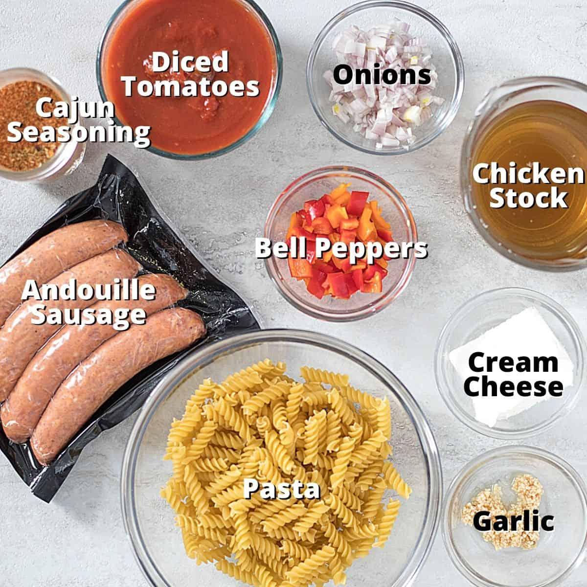 Ingredient for Cajun Pasta labeled.