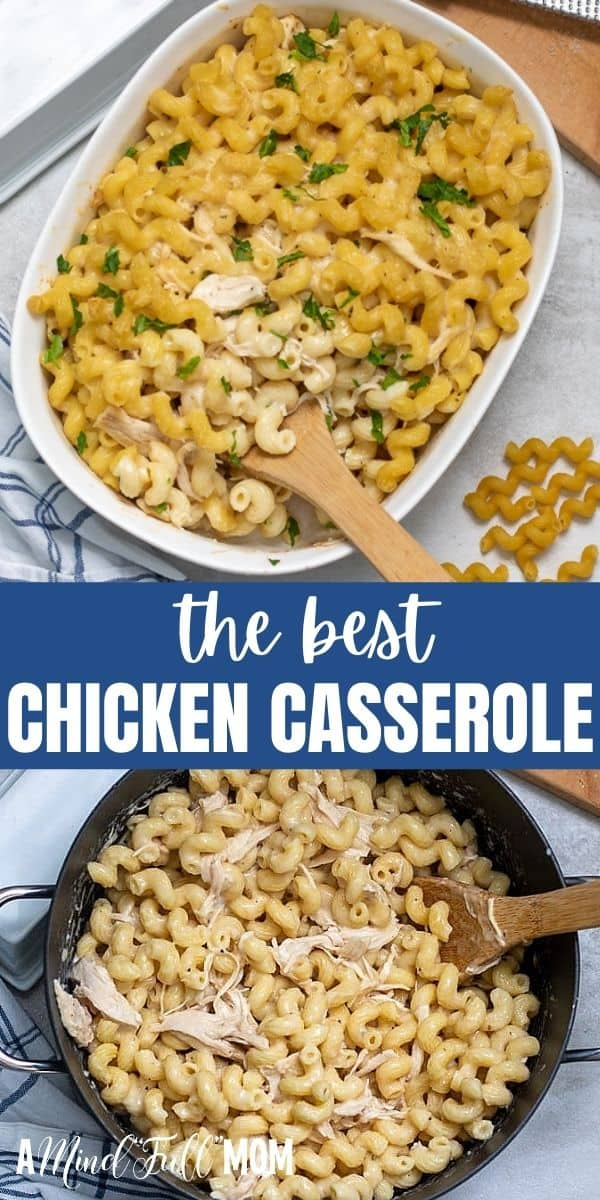 This Creamy Chicken Casserole is a simple, yet comforting casserole made with pasta, a creamy sauce, chicken, and Parmesan.It is the perfect recipe to use leftover chicken and even picky eaters LOVE this simple casserole recipe.