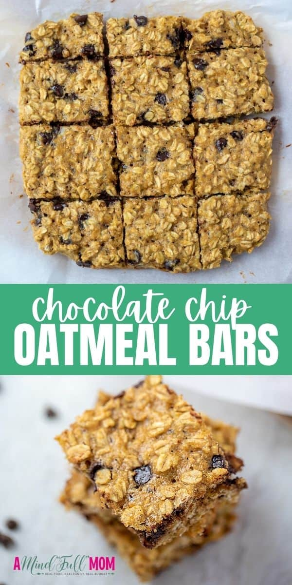 Oatmeal Chocolate Chip Bars feature all the flavor of a decadent Oatmeal Chocolate Chip Cookie but are healthy enough for breakfast. Made with whole grains and naturally sweetened, these healthy oatmeal bars are filling, chewy, and packed with chocolate.