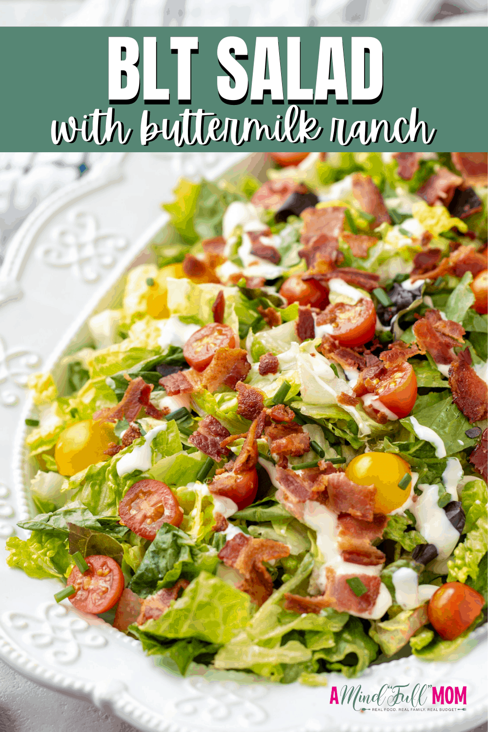 Wow everyone with this simple BLT Salad. Made with bacon, lettuce, tomatoes, and a creamy dressing, this salad will be the star of dinner. It is everything you love in a classic BLT sandwich in salad form! This simple salad is the perfect complement to any entree.