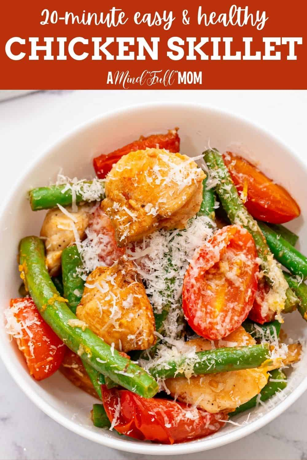 Made with tender chicken breasts, crisp-tender green beans, sweet tomatoes, and a lemon-garlic pan sauce, this Skillet Chicken is a healthy, yet easy meal.