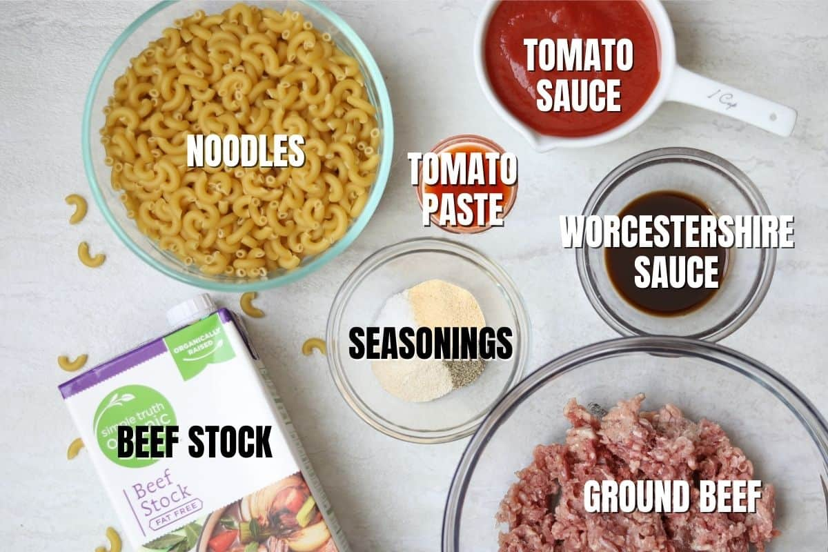 Ingredients labeled that are needed for Homemade Hamburger Helper.