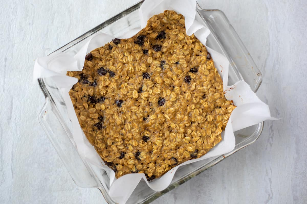 Baked Oatmeal bars in glass dish.