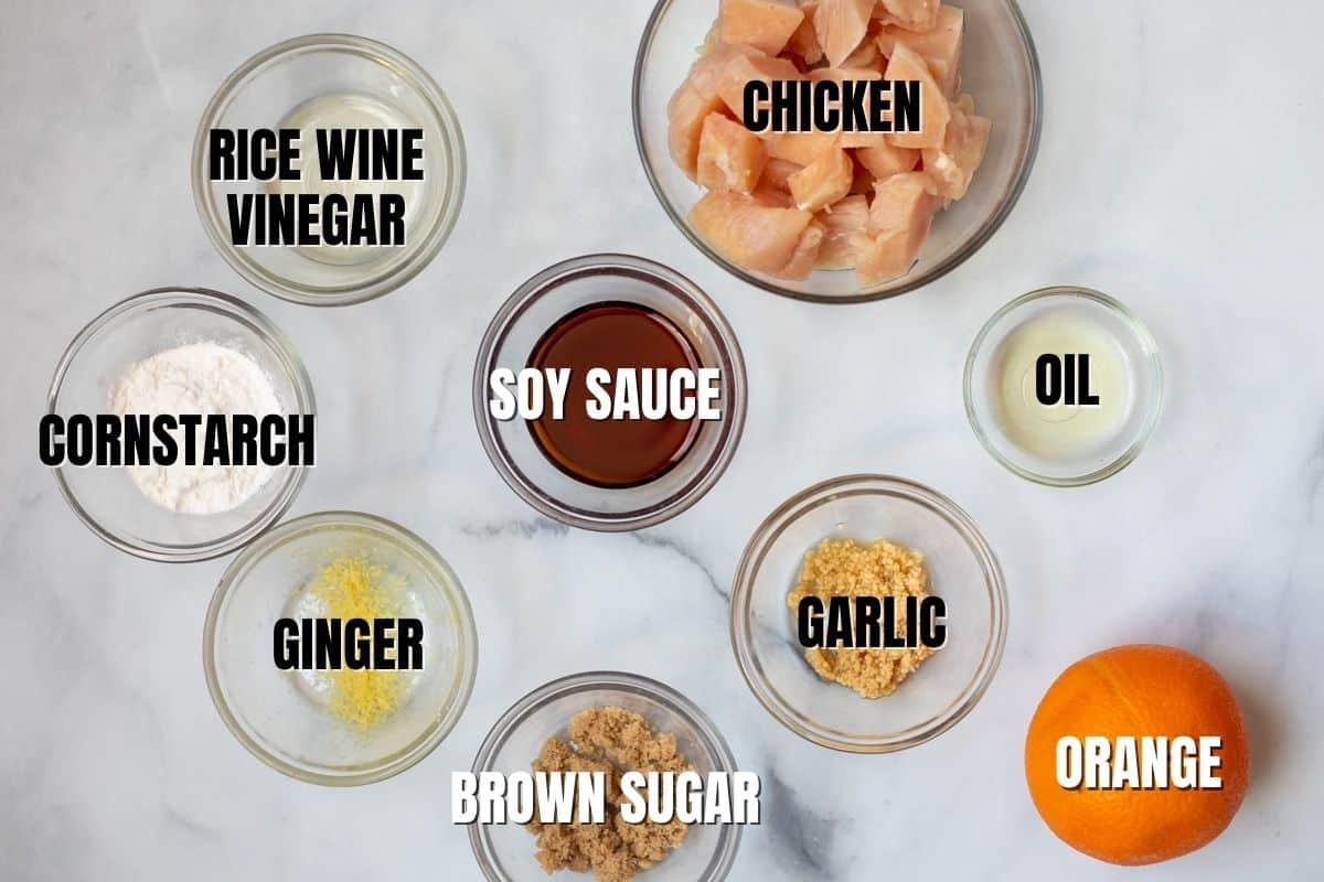 Ingredients for Orange Chicken labeled.