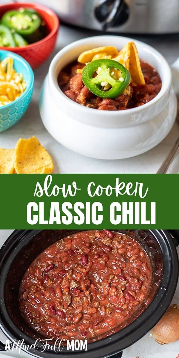 This Slow Cooker Chili is the best recipe for classic chili ever! Ground beef, beans, and a homemade chili spice blend are simmered low and slow in the crock-pot with tomatoes for a delicious, hearty crockpot chili recipe.