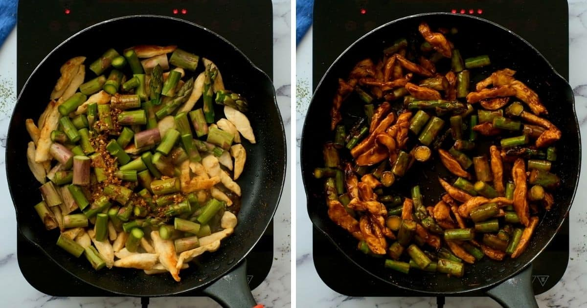 Side by side photo of skillet with chicken and asparagus before and after sauteeing with stir fry sauce.