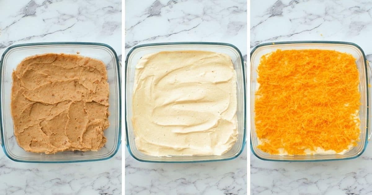 3 pictures side by side showing steps for layering taco dip.