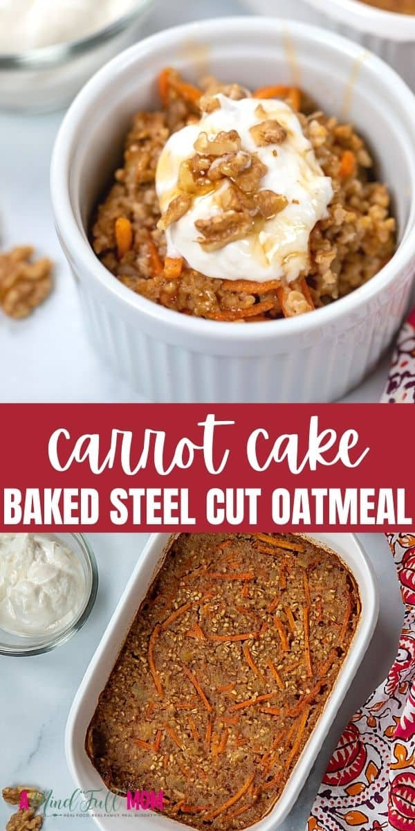 Start your day right with Carrot Cake Oatmeal.  This baked oatmeal is made with steel-cut oats, shredded carrots, walnuts, crushed pineapple, and coconut milk to perfectly mimic the flavors of a decadent carrot cake--just made healthy enough for breakfast.