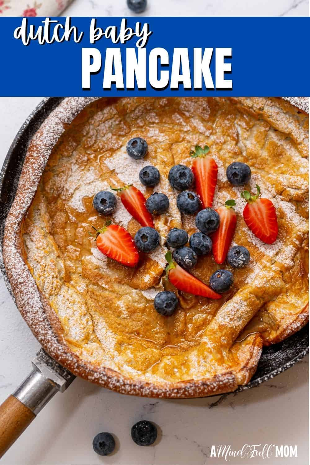 Baked in the oven, Dutch Baby Pancakes are a delicious spin on pancakes. This oven-baked pancake is made with an eggy, light batter and crisps up around the edges while magically puffing up in the middle for a delicious, buttery pancake!