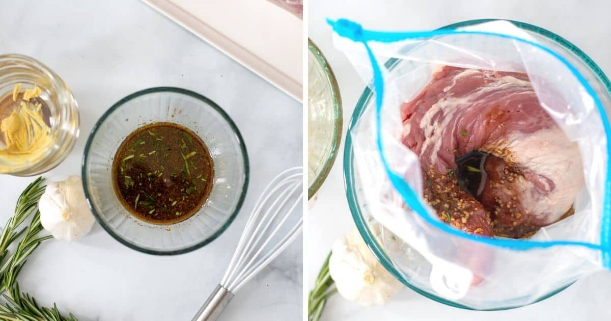 Two photos side by side; one with whisked balasamic marinade in small bowl the other with pork tenderloin in storage bag with marinade.