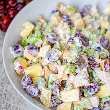 Waldorf Chicken Salad in white bowl.