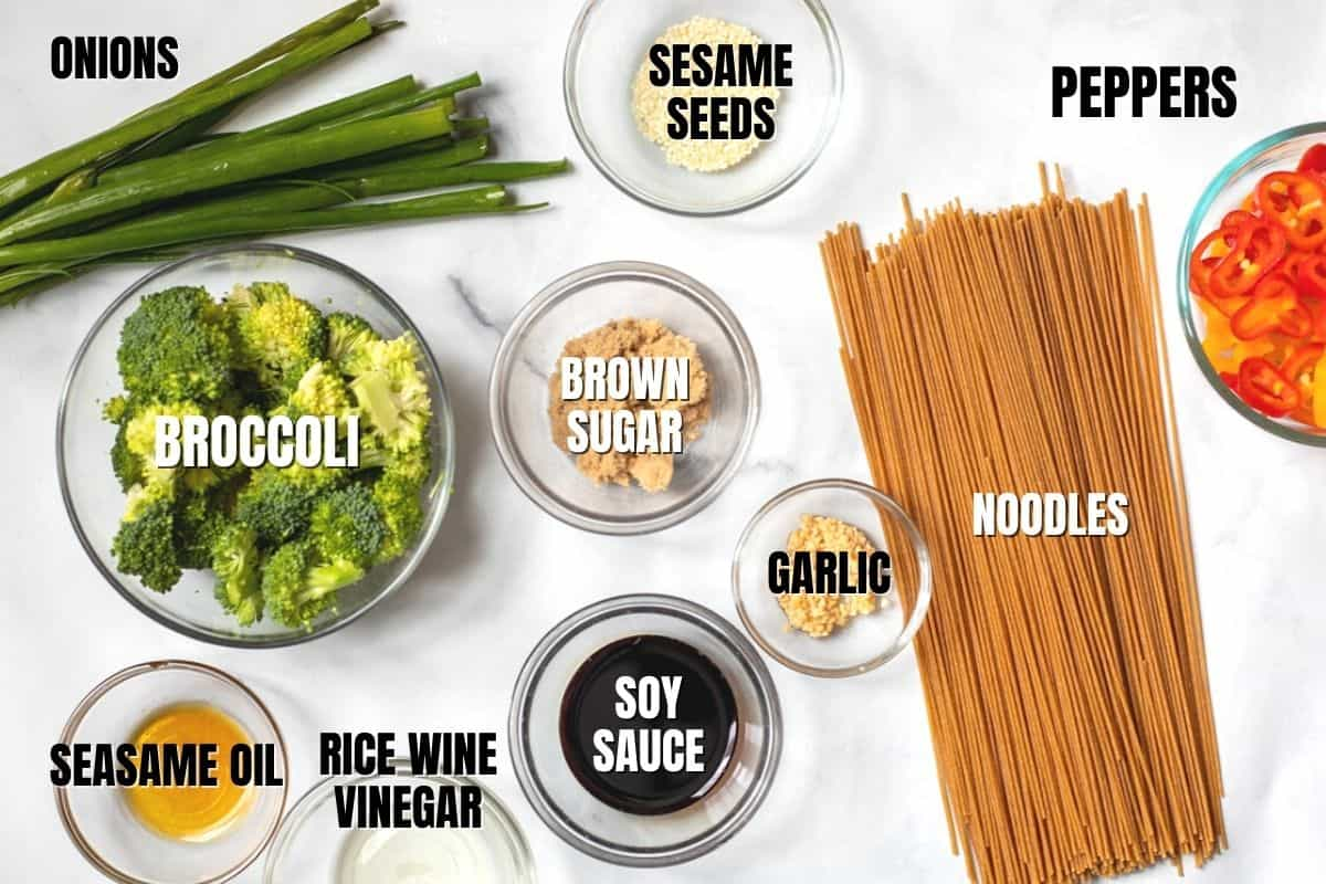 Ingredients for Asian Noodle Salad Labeled on counter.