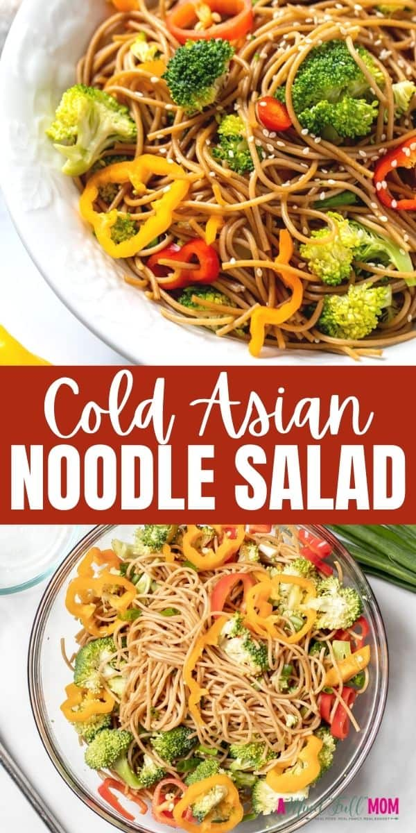 Asian Noodle Salad is an easy cold pasta salad filled with fresh vegetables tossed in a sesame soy dressing. It is light, refreshing, and super simple to make. This delicious cold noodle salad is perfect for potlucks and picnics as it travels well, can be served at room temperature or cold, and everyone loves it! It also makes a light lunch on its own or a tasty side dish.