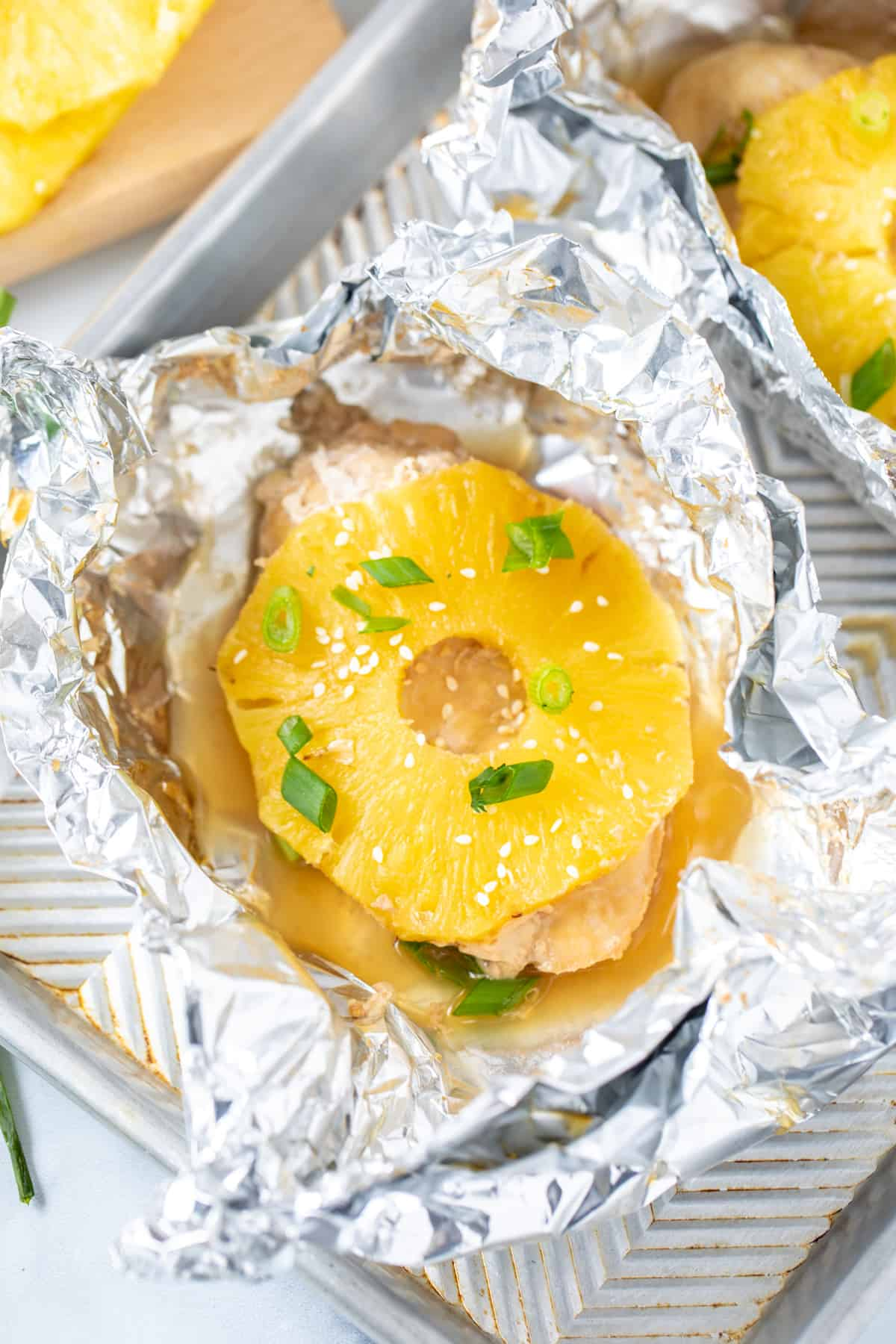 Chicken with Teriyaki Sauce and pineapple in foil packet.