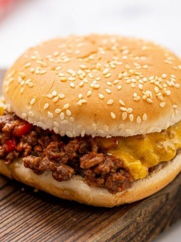 Sloppy Joe mixture on Sesame Bun.