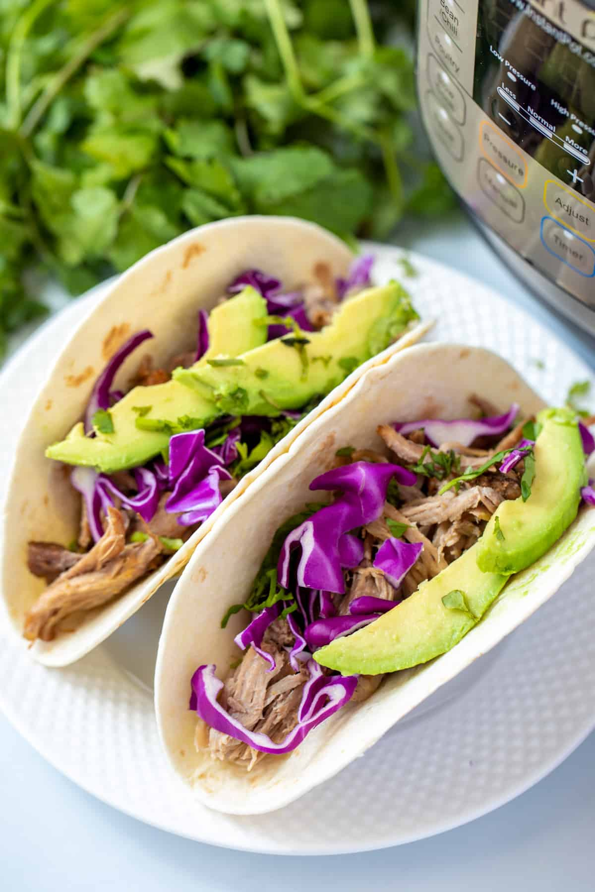 Pork carnita meat served on 2 flour tortillas topped with cabbage and avocado.