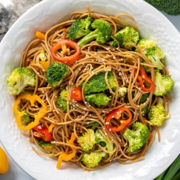 Asian Noodle Salad in whtie serving bowl.