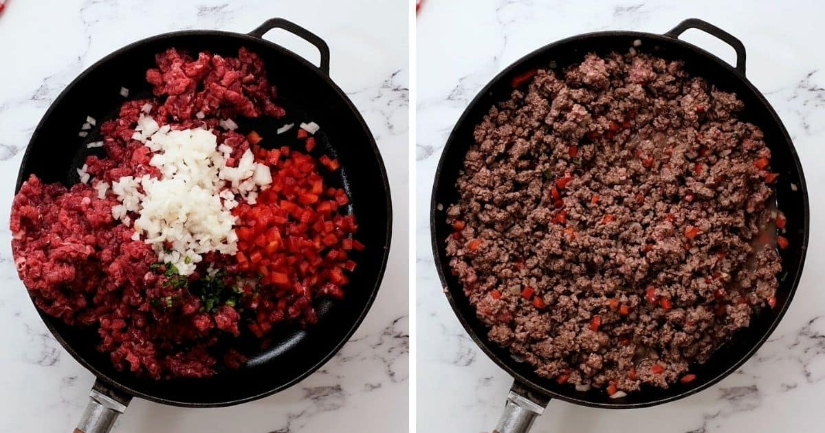 Side by side picture of skillet with meat and vegetables before and after sauteeing.