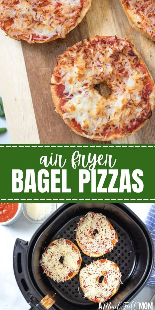 Ditch the frozen Bagel Pizza Bites, and make your own at home with this simple recipe for Homemade Bagel Pizzas that come together in less than 10 minutes! Made with a toasted bagel, pizza sauce, and cheese these Air Fryer Pizzas come together FAST for a crispy, toasted Bagel Pizza that makes a great snack or quick lunch.