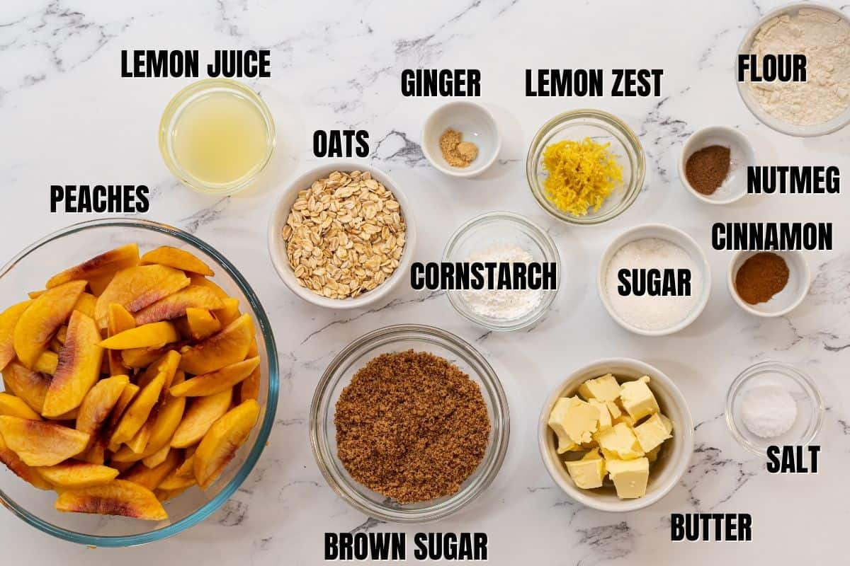 Ingredients for Peach Crisp labeled on white counter.