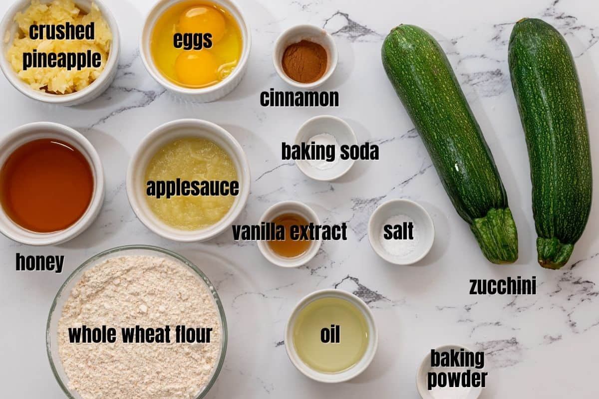 Labeled ingredients for healthy zucchini bread.