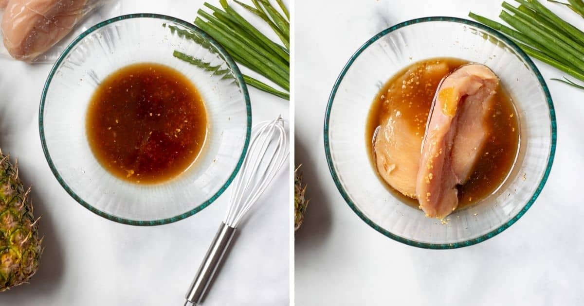 Side by side pictures of the teriyaki sauce and chicken in marinade.