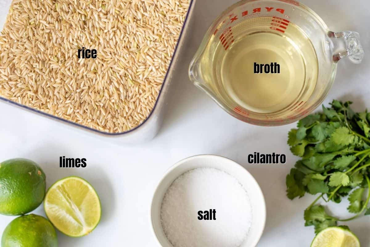 Ingredients for Cilantro Lime Rice on counter.