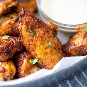 Close up of Air Fryer Chicken Wings.