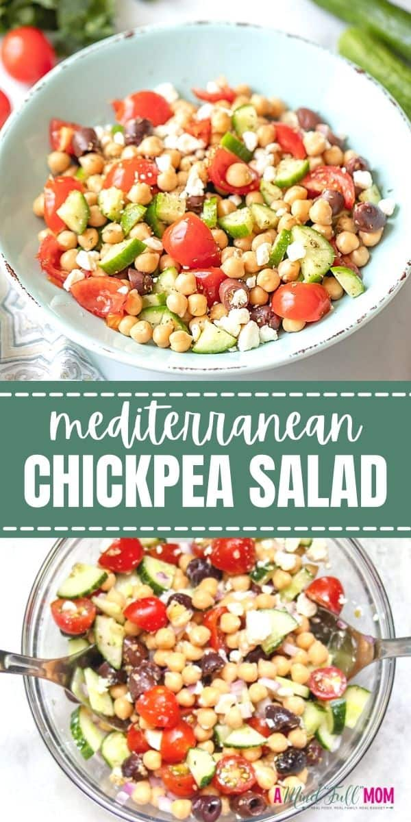 This simple and healthy Chickpea Salad recipe takes less than 20 minutes to prepare and is packed with Mediterranean flavors! It is a healthy salad that makes a great side dish, filling for a wrap for lunch, and even works as a hearty dip when served with pita chips! It can also be easily made vegan friendly and dairy-free.
