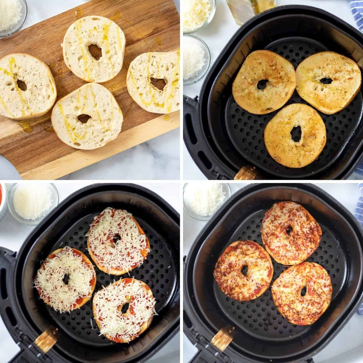 Collage of 4 steps to make bagel pizzas in air fryer.