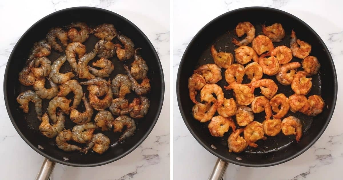 Side by side photo of shrimp before and after cooking.