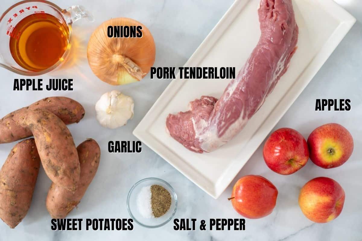 Ingredients for Instant Pot Pork Tenderloin labeled on coutner.