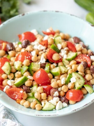 Chickpea Salad in blue bowl.