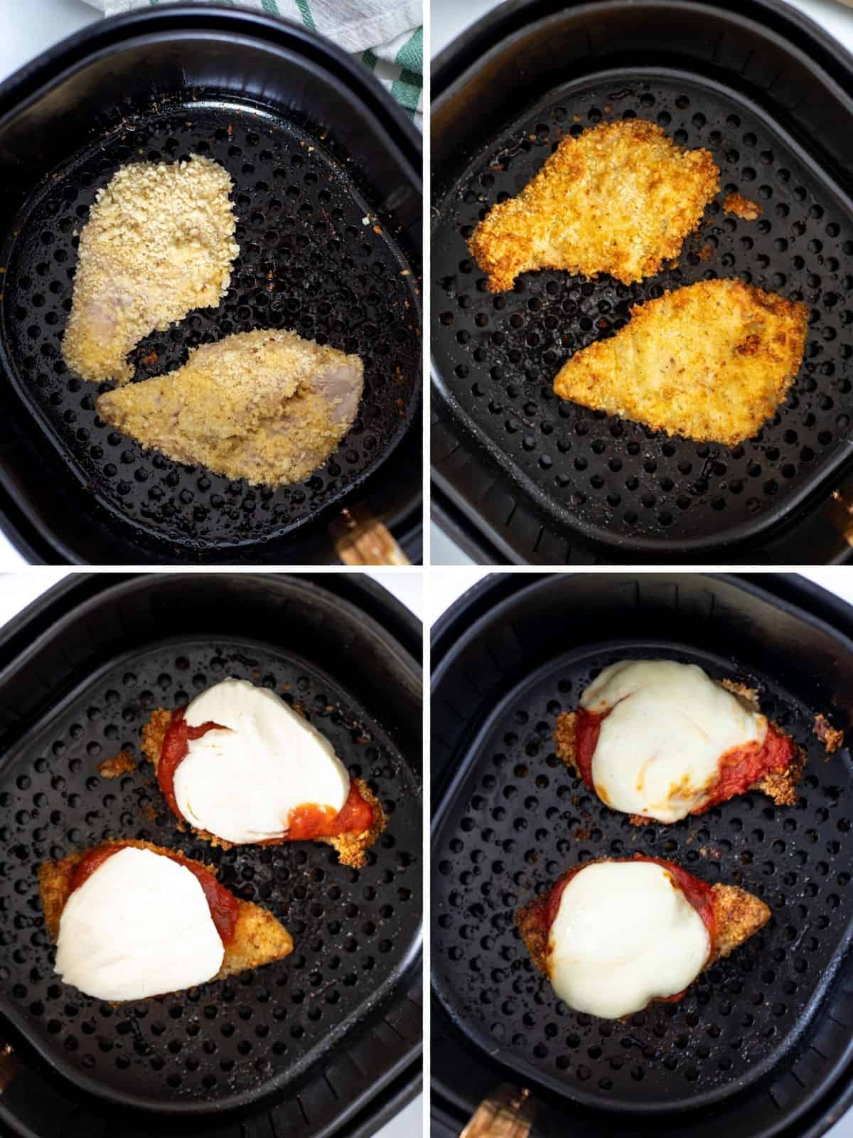 Collage of 4 pictures with step by step pictures showing air frying chicken parmesan.