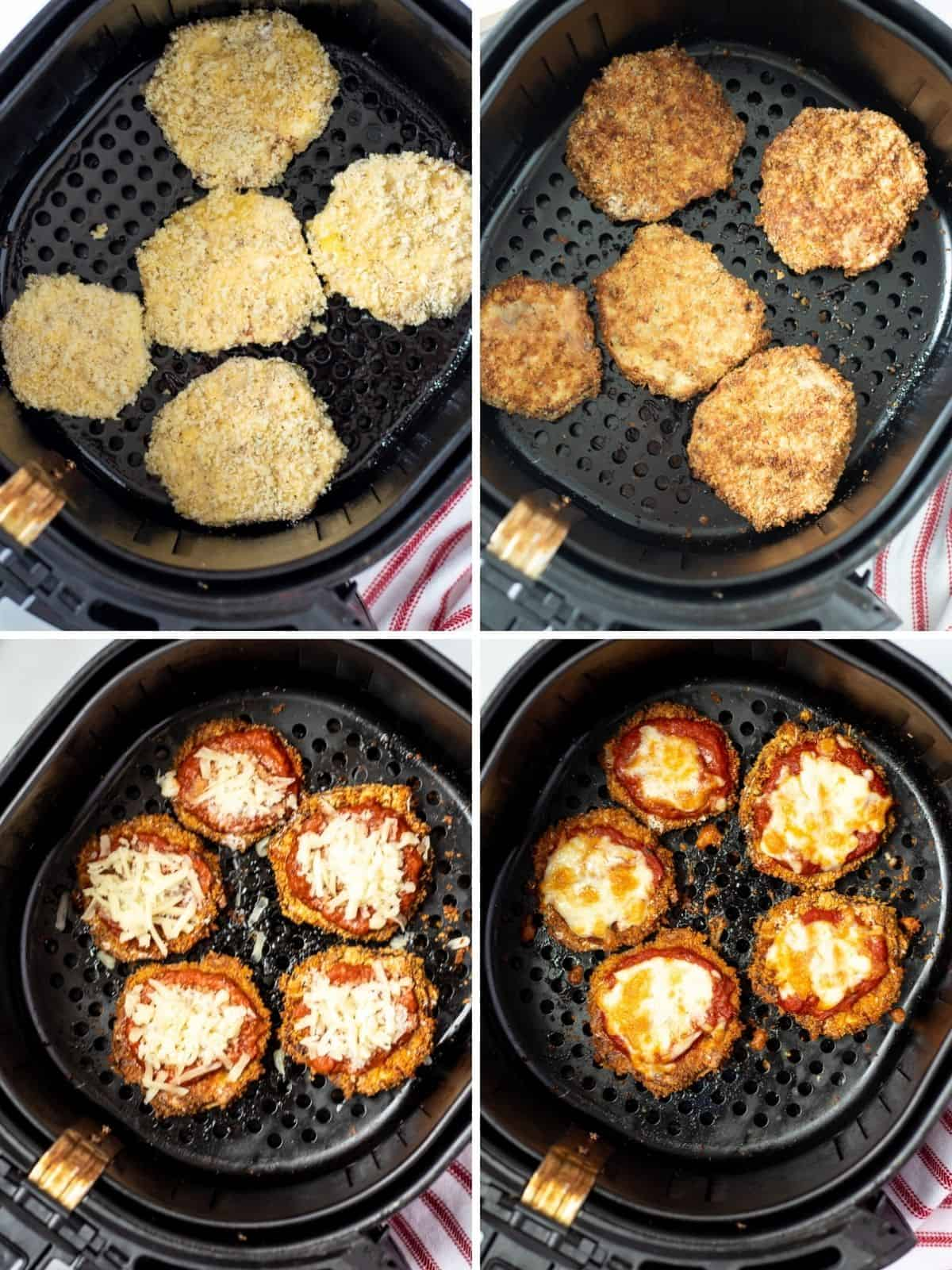 Collage of 4 pictures showing steps of air frying eggplant.