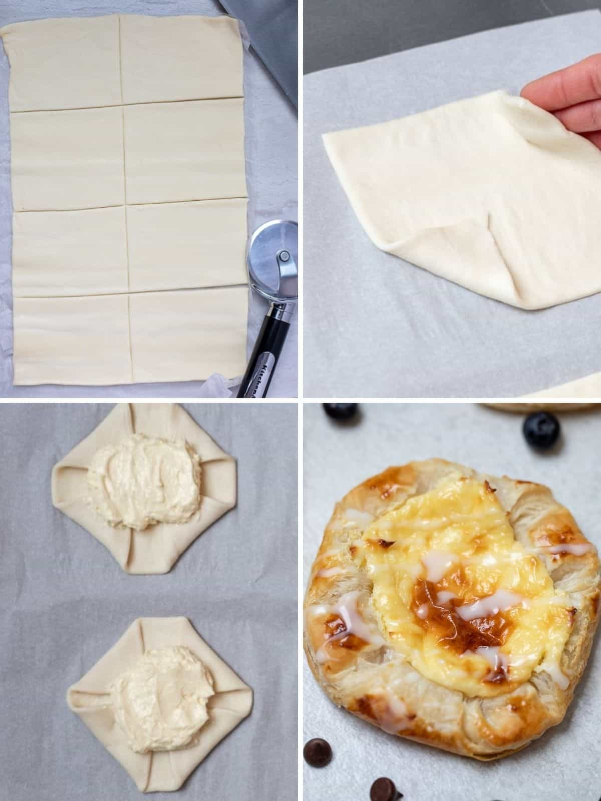 4 step by step photos showing how to prepare a mini danish.