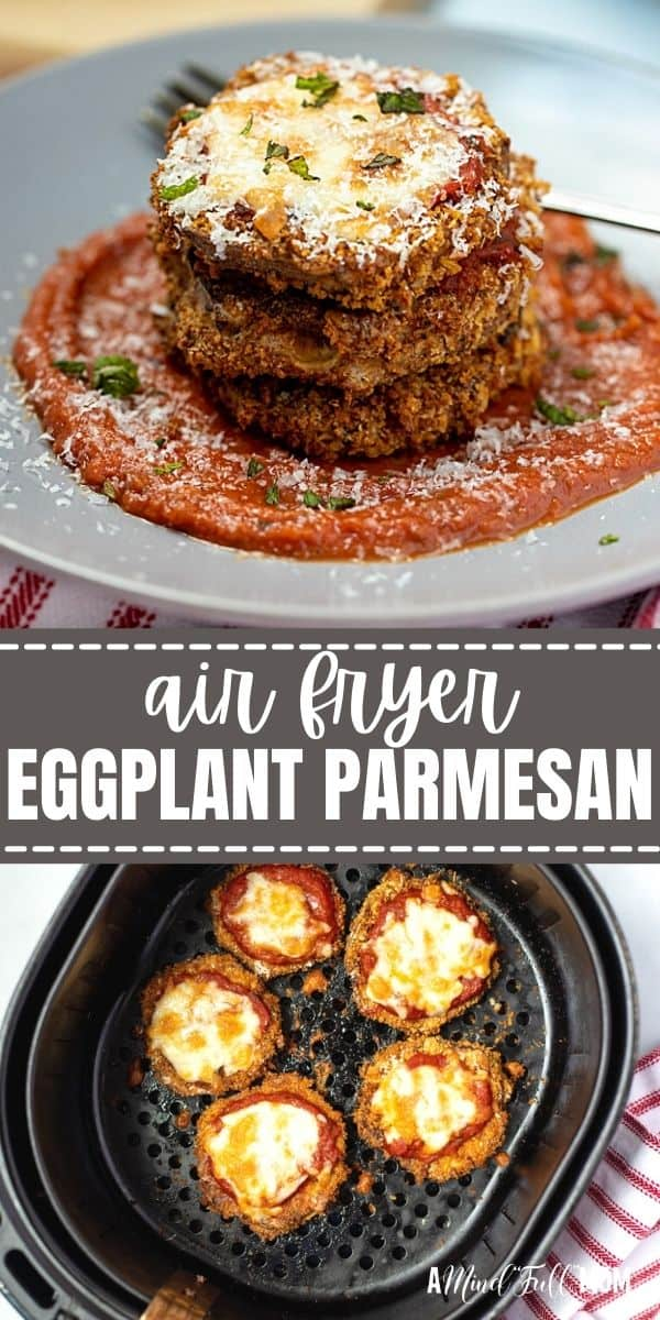 Air Fryer Eggplant Parmesan is a healthier way to enjoy a classically heavy dish. Made with eggplant that is coated in seasoned breading, air-fried until tender and crispy, and then finished with mozzarella, this recipe for Air Fryer Eggplant Parmesan is simple and delicious.