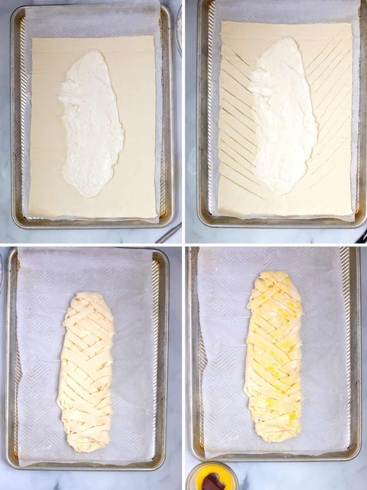 4 pictures showing step by step process of filling the danish with the cream cheese mixture.