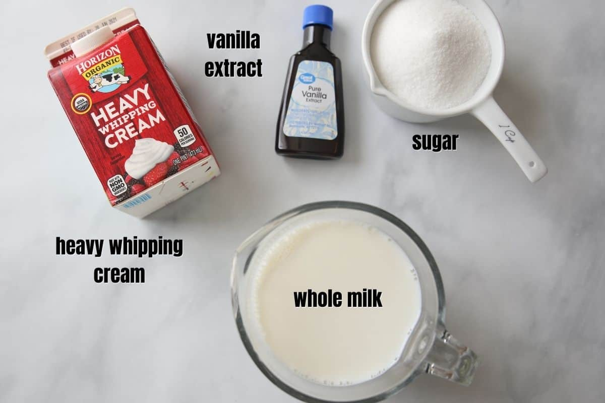 Ingredients for homemade vanilla ice cream on counter.